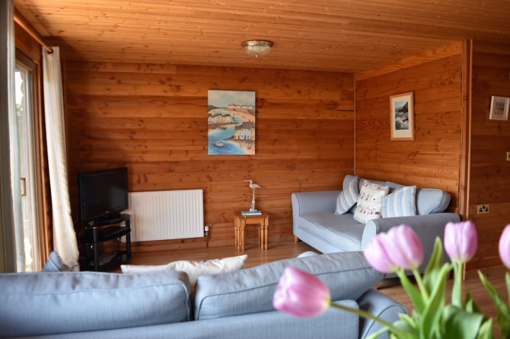 Open Plan Lounge in Lerryn Log Cabin