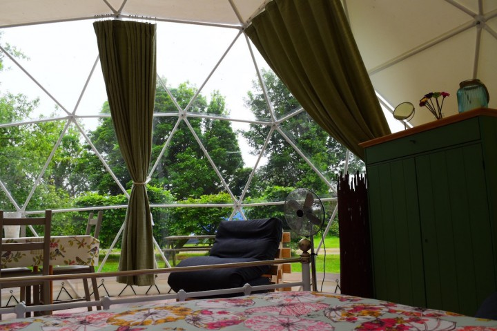 View from bed in Geodome